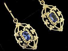 E069 Genuine 9K Gold NATURAL Tanzanite Filigree Dangle Earrings Ornate Drops