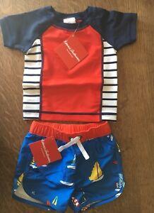 NEW Hanna Andersson Boys Bathing Suit Rash Guard And Swim Shorts Set Size 60
