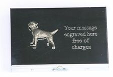 Border Terrier Emblem Card Holder with Built in calculator FREE ENGRAVING Gift
