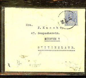 SARAWAK (P1106B) 1930 12C RATE SINGLE FRANK TO SWITZERLAND