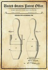 Us Patent Bowling Cone Pin 1938 Metal Sign Signboard Arched Tin Sign 20 x 30 Cm