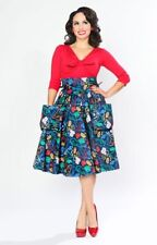 Bettie Page Hello Girl Pin Up Jive Cat Blue Telephone Patio Pocket Swing Skirt 6