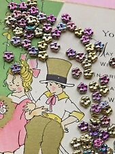 Czech Glass Forget Me Nots Spacer Beads,California Green,5mm Purple Gold #740S