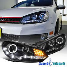 For 2009-2012 Golf GTI R8 Style SMD LED Signal Halo Projector Headlights Black