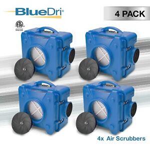 4 Pack BlueDri AS-550 Commercial Industrial Smoke HEPA Air Scrubber Air Purifier