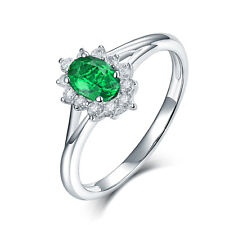 14K White Gold Emerald & Diamonds Engagement Wedding Women Promise Rings