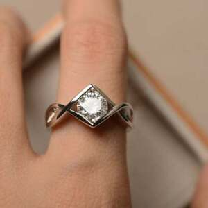 14K White Gold Over 1.30Ct Round Cut Diamond Solitaire Engagement Ring For Women