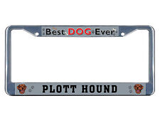 Plott Hound Dog Best Dog Ever Chrome Metal License Plate Frame Tag Border