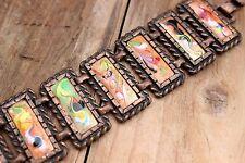 Vintage Bracelet Copper Enamel Jewellery Jewelry 70s 1970s 6.25 Long Boho Hippie
