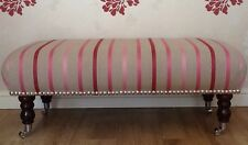 A Quality Long Footstool In Laura Ashley Luxford Stripe Cerise Fabric