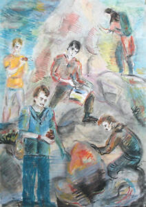 1987 Post Impressionist figures pastel drawing portrait signed