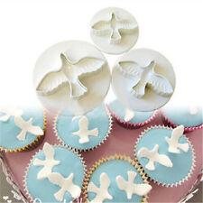 3PCs/ Set Pigeon Bird Pattern Plastic Sugar Craft Cake Decorating Cookies Cutter