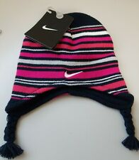 Girls Toddler Pink Nike Striped Hat & Mittens Set 2T-4T NWT