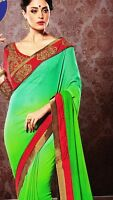 Designer Saree Indian Bollywood Party Wear Green Sari Embroidered Red Blouse