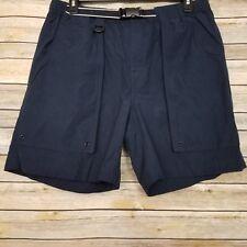 St Johns Bay Mens Shorts Large Black Cotton Nylon Blend Belted Waist Deep Pocket