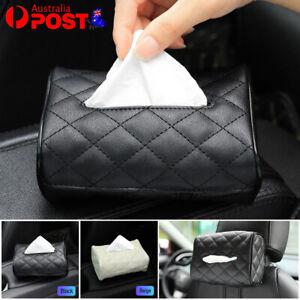 PU Check Tissue Box Cover Home Table Car Storage Organiser Napkin Case Holder