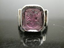 Art Deco Amethyst Glass Intaglio Victorian Woman Sterling Silver Ring Size 6.5