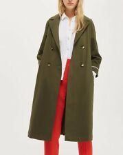 Topshop Relaxed Green Classic Belted Light Trench Mac Jacket Coat 4 - 16