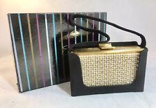 Vtg ELGIN AMERICAN Rhinestone/Pearls COMPACT Carry Case Purse Comb Mirror BOX