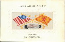 More details for woven silk. ss california by stevens. anchor line. usa/scotland flags..