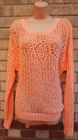 G21 PEACHY PINK ORANGE LONG SLEEVE KNIT KNITTED BAGGY 37% NYLON JUMPER TOP 14
