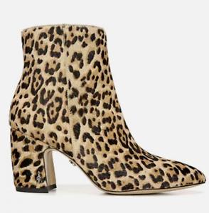 Women's Sam Edelman Hilty Sand Leopard Print, Calf Hair Zip Boot Bootie 8 W NIB