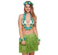 HAWAIIAN POLYNESIAN Hula Dancer GRASS SKIRT Tiara Lei Wristcuff GIRLS TEEEN Size