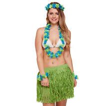 Complete Green Hawaiian Set - Grass Skirt Flower Hula Lei Garland Dress Costume