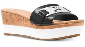 New Michael Kors Warren Platform black Open Toe silver Logo Sandal leather cork