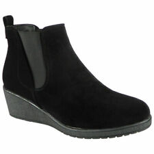 Womens Ladies Wedge Chelsea Ankle Mid Heel Casual Comfy Work Boots Shoes Size