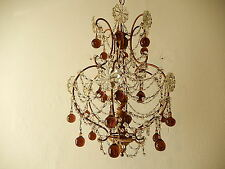 ~c 1930 French Amethyst  Murano Drops Crystal Prisms Swags OLD Chandelier RARE ~