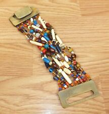 Thick Multi Color Wood Beaded Women's Fashion Costume Jewelry Bracelet *Read*