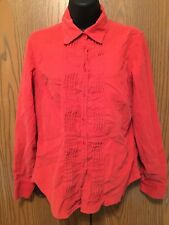 Talbots Blouse Women Size S Corduroy Coral Pink Soft Top Long Sleeve Button Down