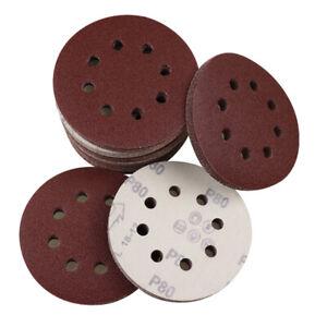 """125mm 5"""" Sanding Discs for Orbital Sander 40 - 800 grit 80 240 Sandpaper Sheet"""