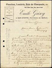 █ Facture 1913 Emile Grisey à Bas-Evette (Territoire de Belfort) Planches Bois █