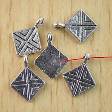 30pcs Tibetan silver square drops charm h0980