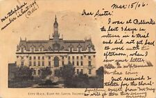 East St Louis IL Mansard Roofs~Tall Skinny Tower in Middle of City Hall 1906