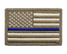 Police US Flag Thin Blue Line Tactical Hook &Loop Morale Tags Patch American SUB