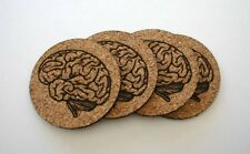 Brain Etched Cork Coasters Set of 4