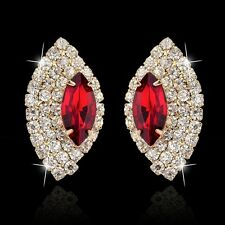 GORGEOUS 18K GOLD PLATED RUBY RED AND CLEAR AUSTRIAN CRYSTAL STATEMENT EARRINGS
