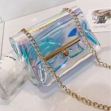PVC Mini Chain Women Bag Laser Transparent Clear Tote Shoulder Crossbody Handbag