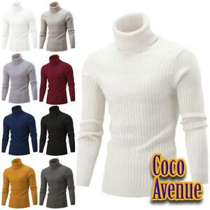 Mens Long Sleeve Cable Knitted Polo Roll Neck Jumper Warm Casual Winter Sweater