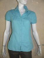 ESPRIT Taille 42 Superbe chemise manches courtes bleue femme blouse Lin Coton