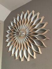 WHITE wall clock,89 cm ,large, modern, handmade   natural wood