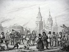 GRAVURE ANCIENNE 19e - ST PETERSBOURG MARCHE AUX GRAINS - ORIGINALE