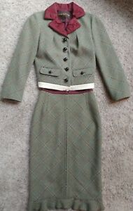 Louis Vuitton Green Plaid Wool Skirt Suit Altered, Size 0