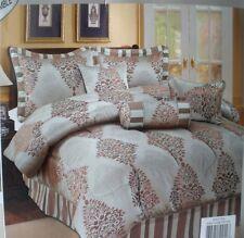 New Spectra 7 Piece Blue Brown King Comforter Bed Skirt Pillows Sham Bedding Set