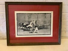 """Ant """"A Moor Caught by the Bull in the Ring"""" Framed Etching After Francisco Goya"""