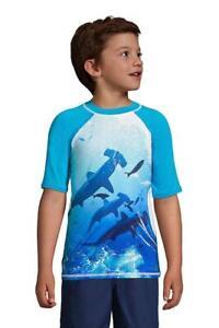 LANDS' END Big Boys 10-12 Shark Wave Graphic UPF 50 Rashguard Swim Tee NWT