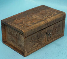 Antique Swiss Black Forest Wood Carving Box Rope Edelweiss Flowers Relief Key